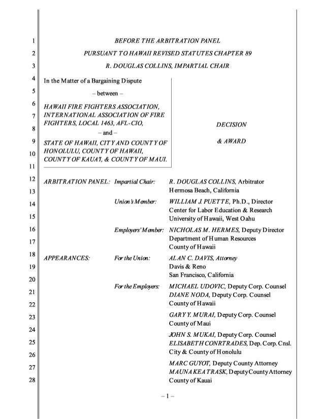 Hawaii firefighters interest arbitration 2013 (12 075) signed (1)