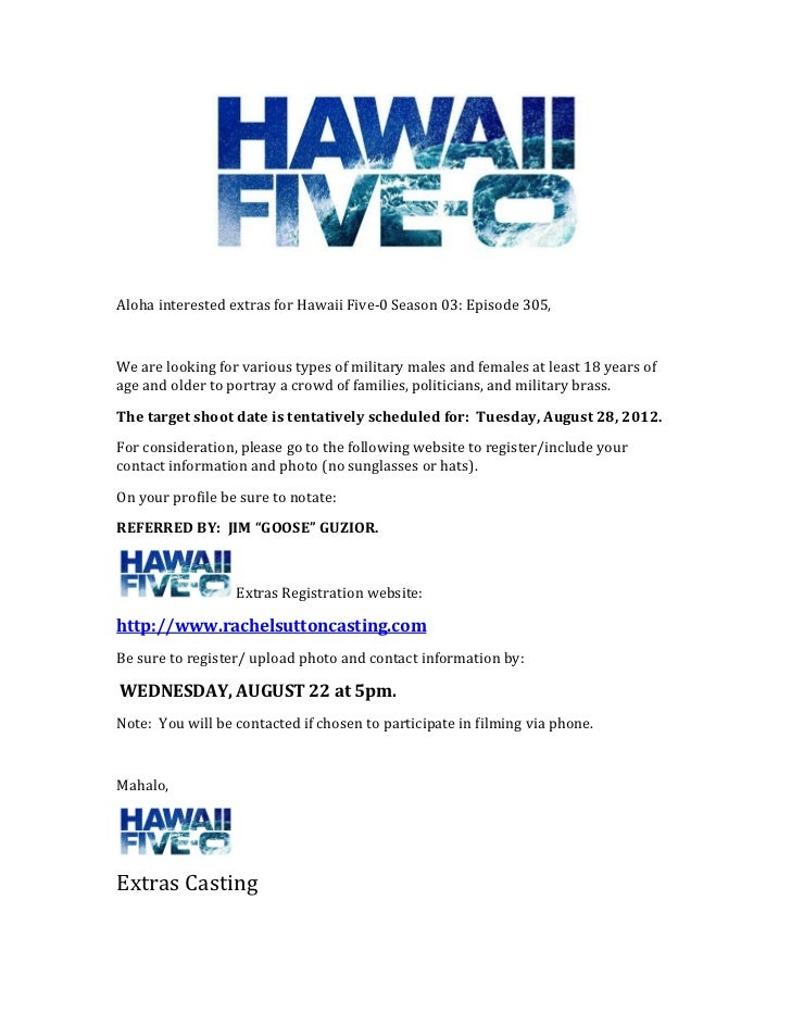 Aloha	  interested	  extras	  for	  Hawaii	  Five-...