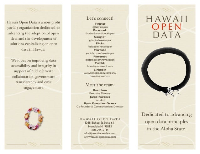 Hawaii Open Data is a non-profit                                           Let's connect!                   HAWAII         ...