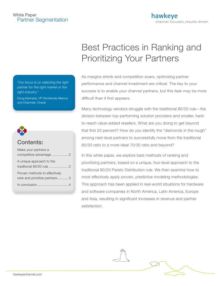 White Paper   Partner Segmentation                                                          Best Practices in Ranking and ...