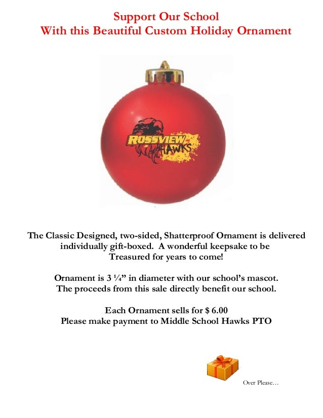 Support Our School With this Beautiful Custom Holiday Ornament  The Classic Designed, two-sided, Shatterproof Ornament is ...