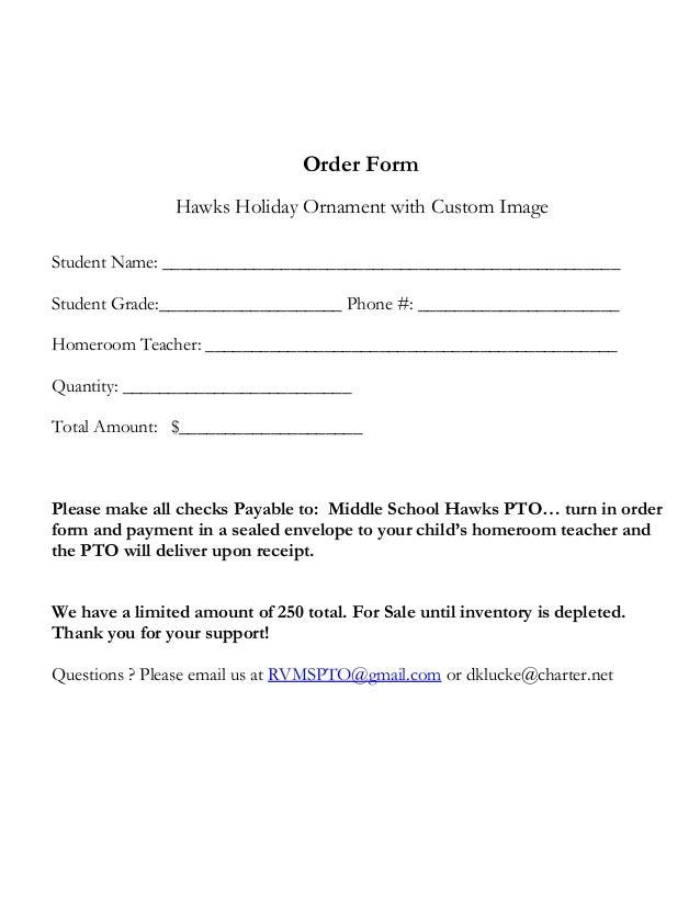 Hawk Ornament Order Form Rossview