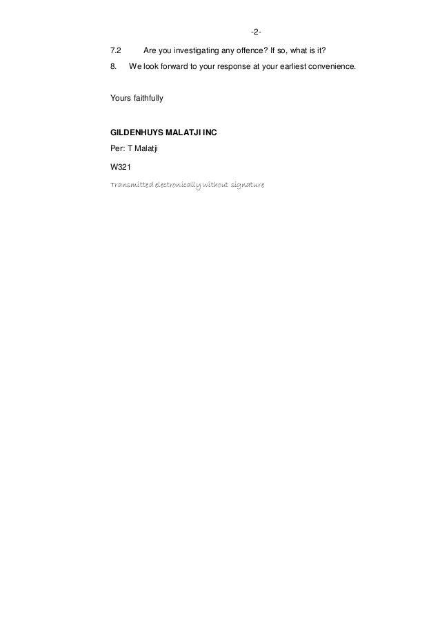 Minister Of Finance Pravin Gordhans Letter