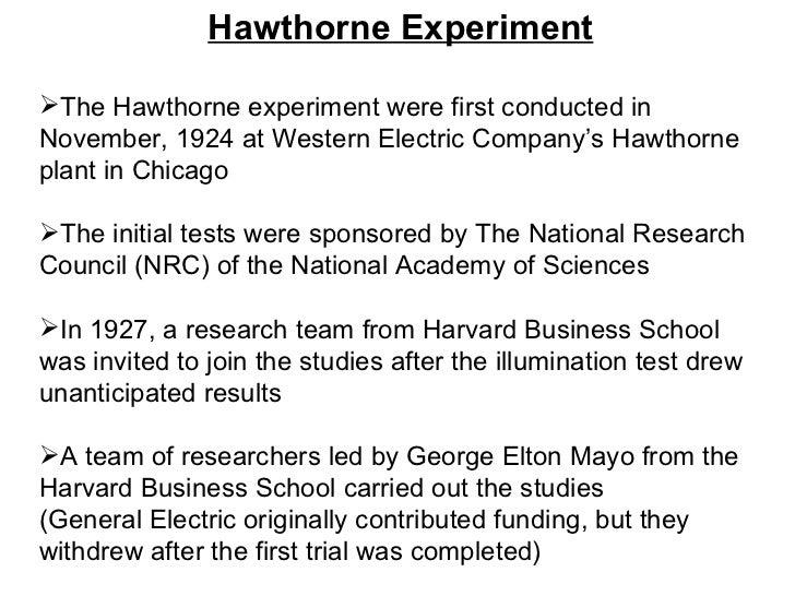 hawthorne experiment by elton mayo