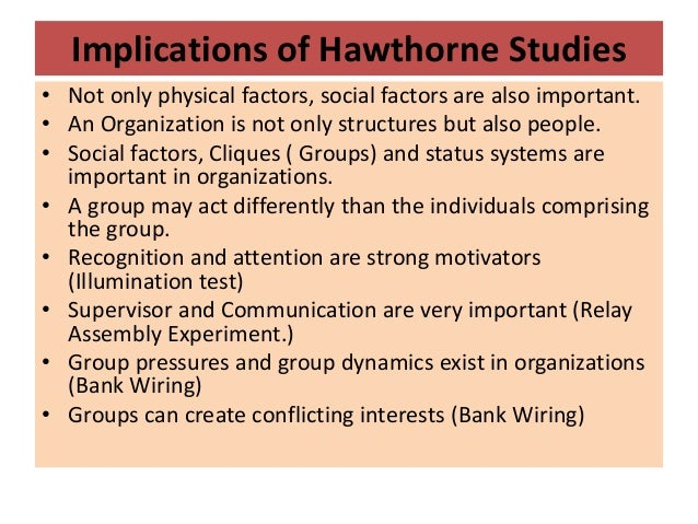 the implication of hawthorne study in