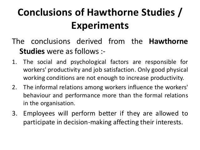 hawthorne studies in organizational behavior