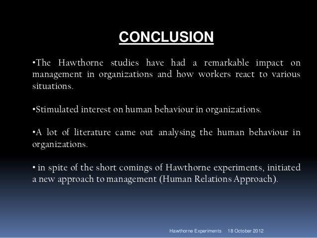 hawthorne studies conclusion