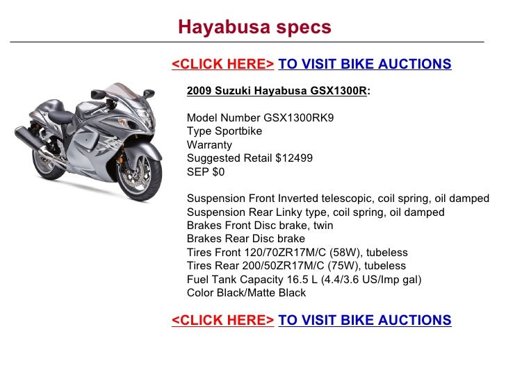 Hayabusa Specs