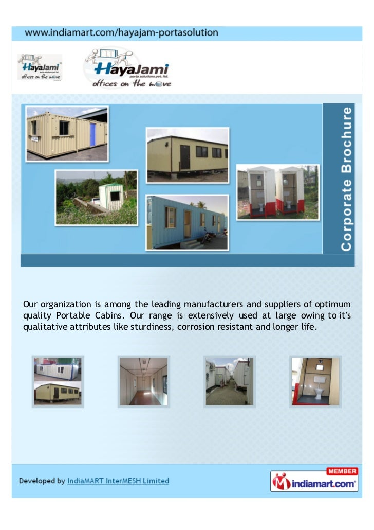Our organization is among the leading manufacturers and suppliers of optimumquality Portable Cabins. Our range is extensiv...