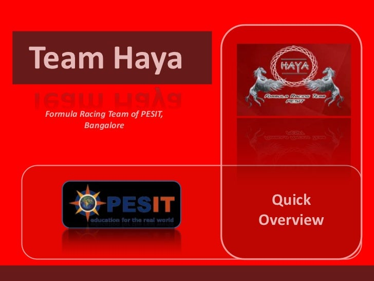 Team HayaFormula Racing Team of PESIT,         Bangalore                                 Quick                            ...