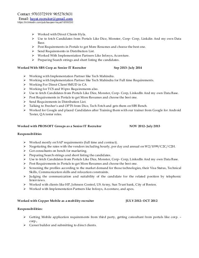 Hayat It Recruiting Resume   Recruiting Resume