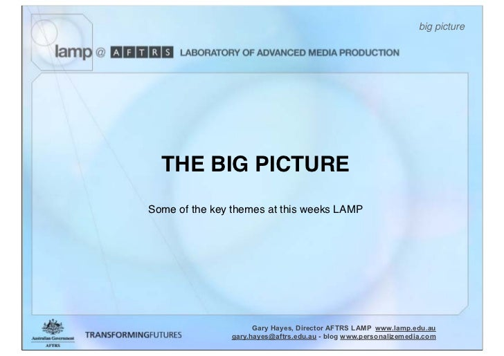 big picture       THE BIG PICTURE Some of the key themes at this weeks LAMP                          Gary Hayes, Director ...