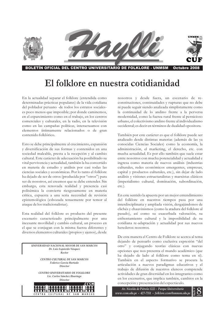 BOLETÍN OFICIAL DEL CENTRO UNIVERSITARIO DE FOLKLORE - UNMSM                                       Octubre 2008           ...