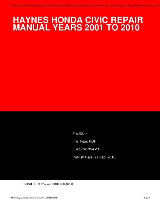 haynes honda civic repair manual years 2001 to 2010 rh slideshare net 2010 honda civic hybrid repair manual Car Honda Civic Manual