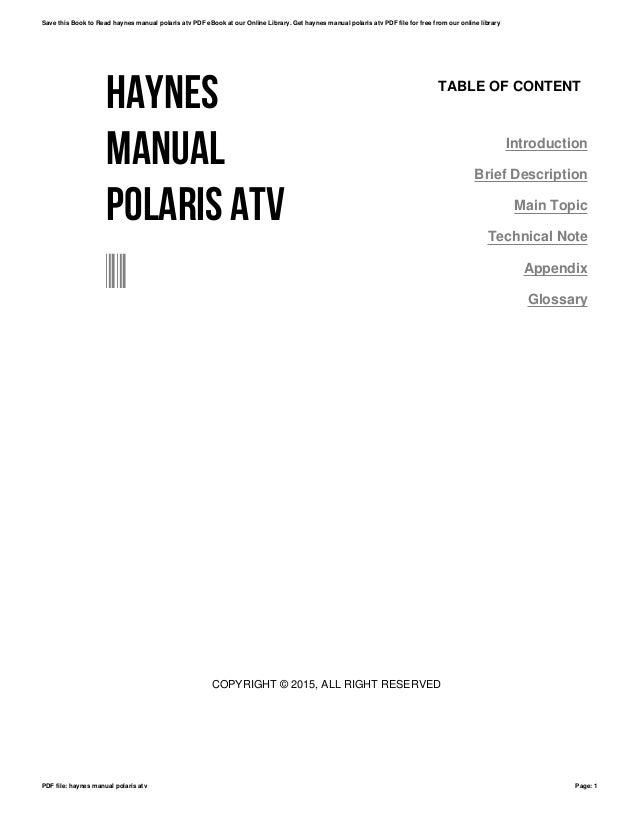 Haynes manual polaris atv