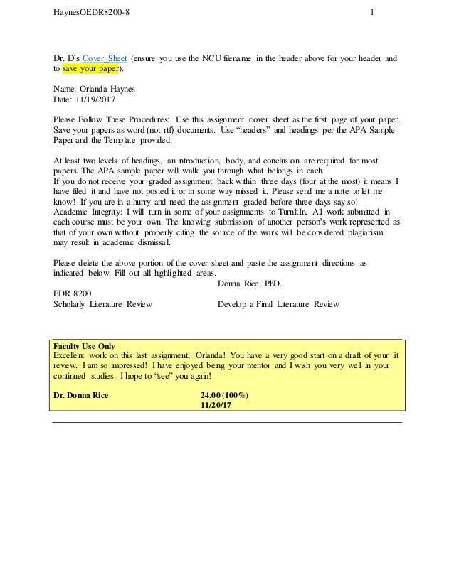 Edr 8200 8 Develop A Final Literature Review