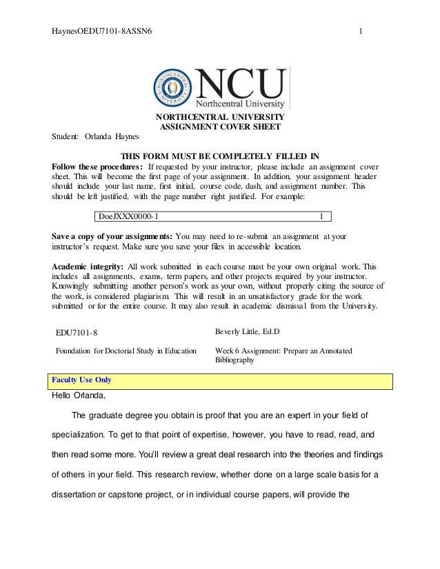 North Central University Edu7101 8 Northcentral Dissertation Process Proces