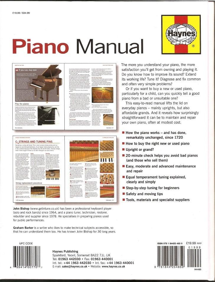 Haynes piano manual back