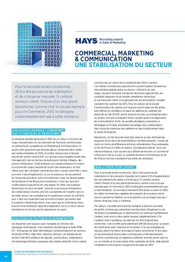 COMMERCIAL, MARKETING& communicationUNE STABILISATION DU SECTEUREVOLUTION DU MARCHE et changementsur les pratiques de recr...