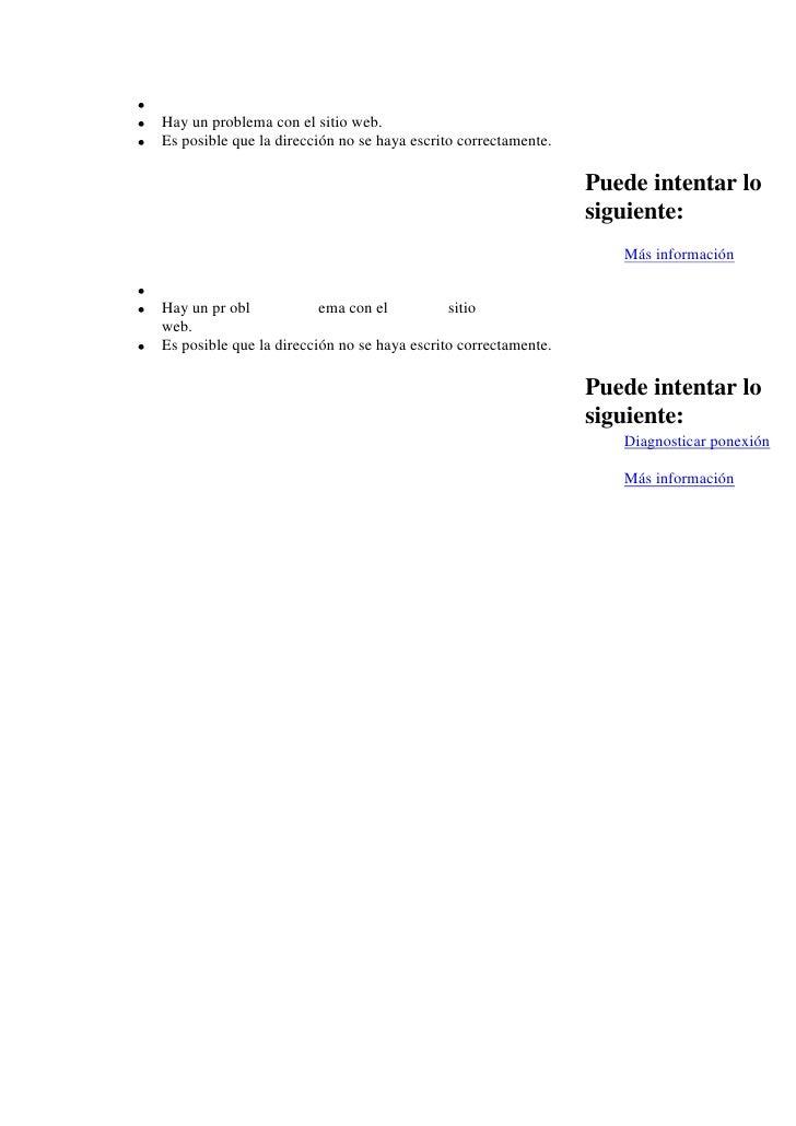 Hay un problema con el sitio web. Es posible que la dirección no se haya escrito correctamente.                           ...