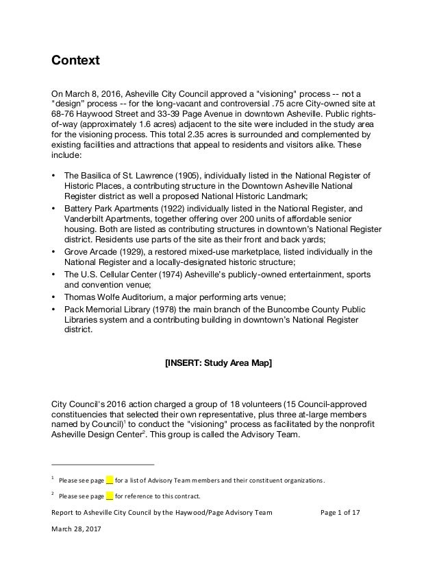 Report	to	Asheville	City	Council	by	the	Haywood/Page	Advisory	Team	 				Page	1	of	17	 March	28,	2017	 Context On March 8, ...