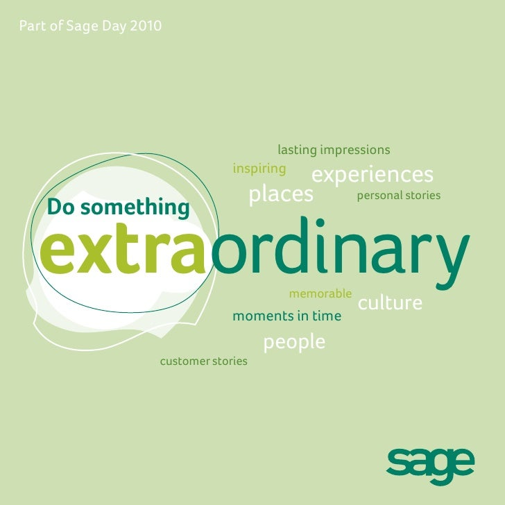 Part of Sage Day 2010                                              lasting impressions                                  in...