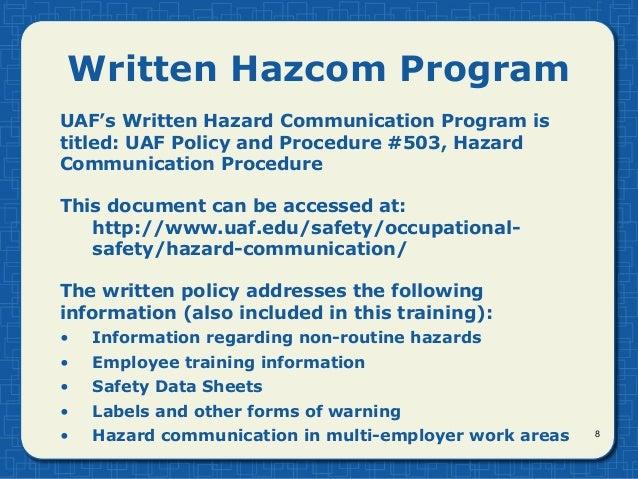 Hazard Communication Ghs By Uaf