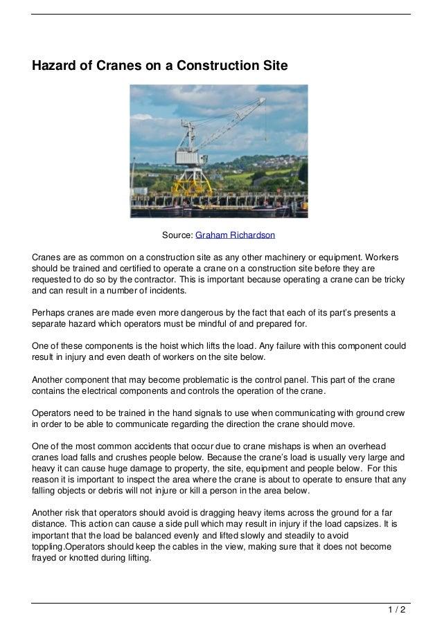Overhead Crane Jha : Hazard of cranes on a construction site