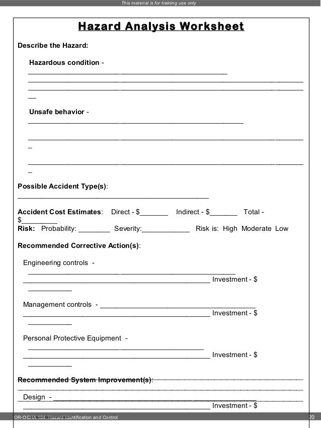 Hazard identification – Hazard Analysis Worksheet