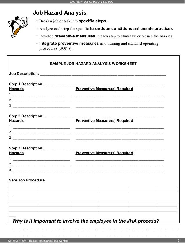 Hazard identification – Job Hazard Analysis Worksheet