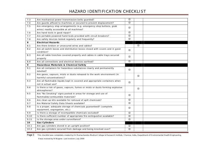 Hazard Identification Checklist Blank 1