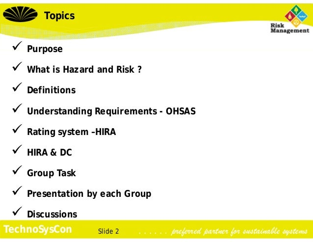 Ohsas Hazard Identification Amp Risk Assessment
