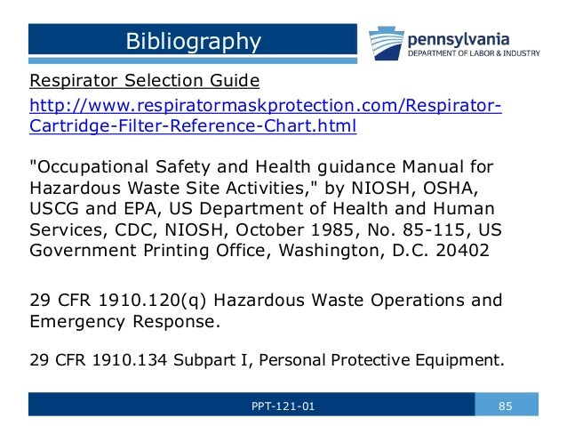 Hazardous materials ppe by paths questions 84ppt 121 01 85 bibliography respirator selection guide publicscrutiny Gallery