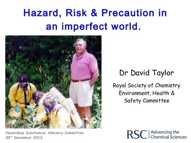 Hazard, Risk & Precaution in            an imperfect world.                                            Dr David Taylor    ...