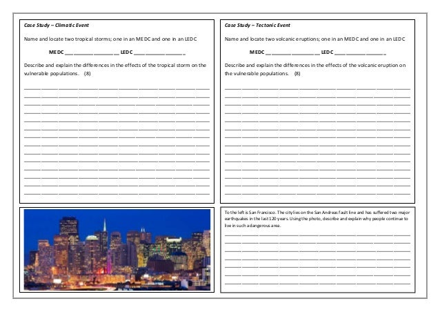 Hazards Revision A3 Sheet For Ocr B Gcse Geography