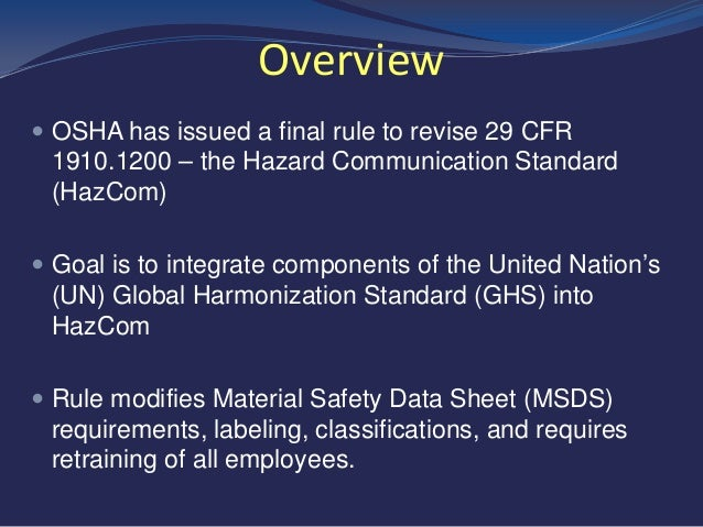 Osha Hazard Communication And Global Harmonization System