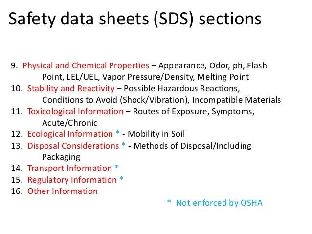 osha msds requirements 2013
