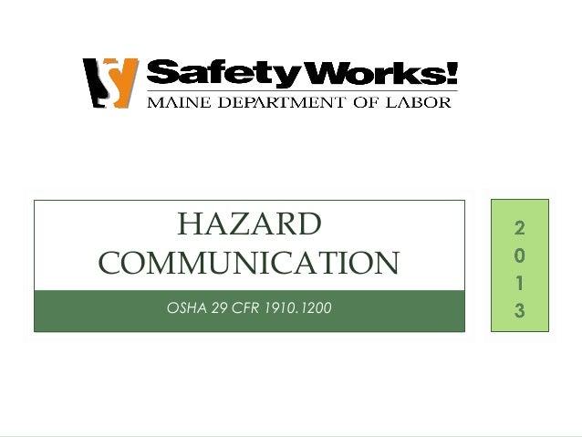 Hazard Communication By Maine Dept Of Labor