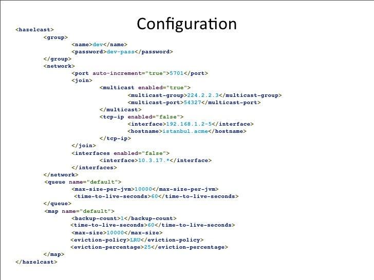<hazelcast>                         Configura-on         <group>                   <name>dev</name>                   <pass...