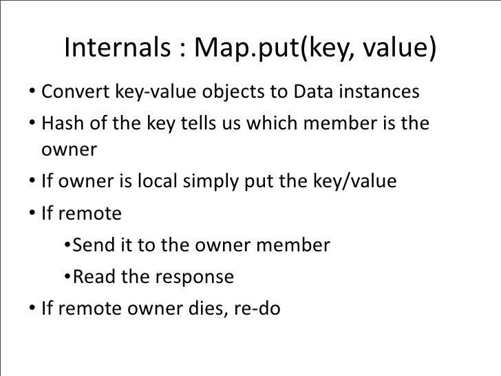 Internals:Map.put(key,value) • Convertkey‐valueobjectstoDatainstances • Hashofthekeytellsuswhichmemberist...