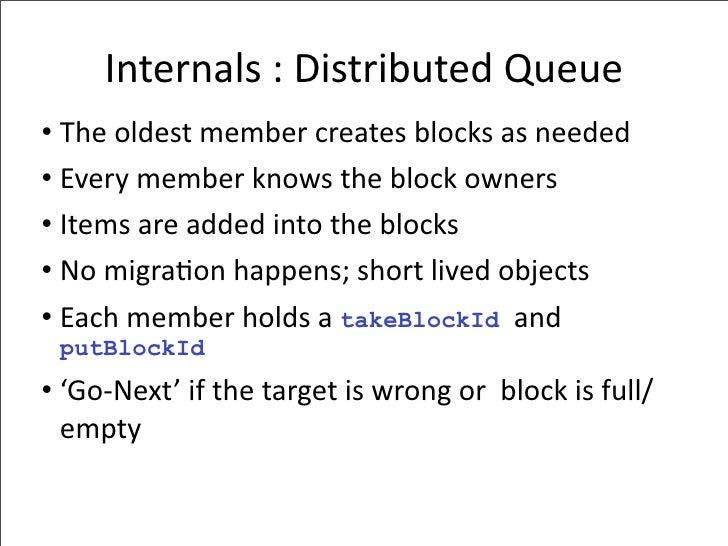 Internals:DistributedQueue • Theoldestmembercreatesblocksasneeded • Everymemberknowstheblockowners • Itemsa...