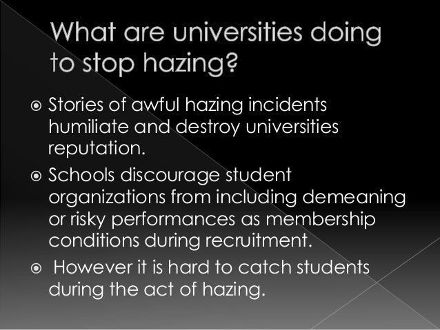 an understanding of hazing in schools Colfax, nd — disturbing details of sodomy and sexual assault dating back to 2015 in the richland 44 school district are described in an independent report that says school leaders failed to .