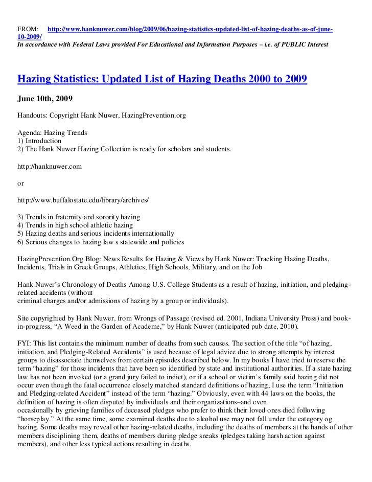 FROM: http://www.hanknuwer.com/blog/2009/06/hazing-statistics-updated-list-of-hazing-deaths-as-of-june-10-2009/In accordan...