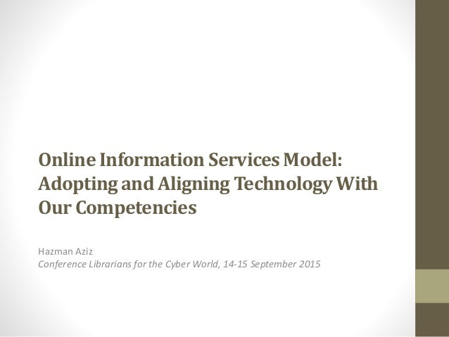 Online Information ServicesModel: Adopting and Aligning TechnologyWith Our Competencies Hazman Aziz Conference Librarians ...