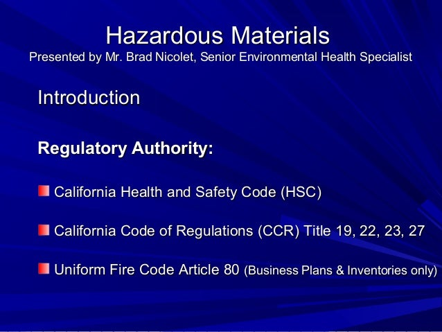 hazardous material business plan california