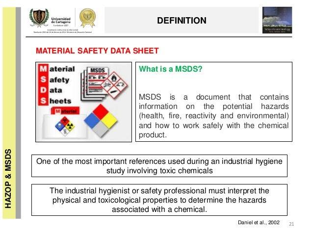 HAZARD & OPERABILITY STUDY (HAZOP) & MATERIAL SAFETY DATA
