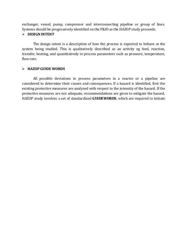 Hazop analysis complete report