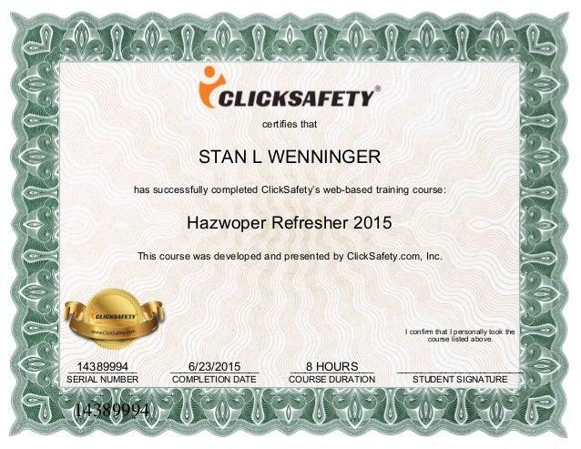 hazwoper refresher certificate cert clicksafety osha slideshare aaron training upcoming