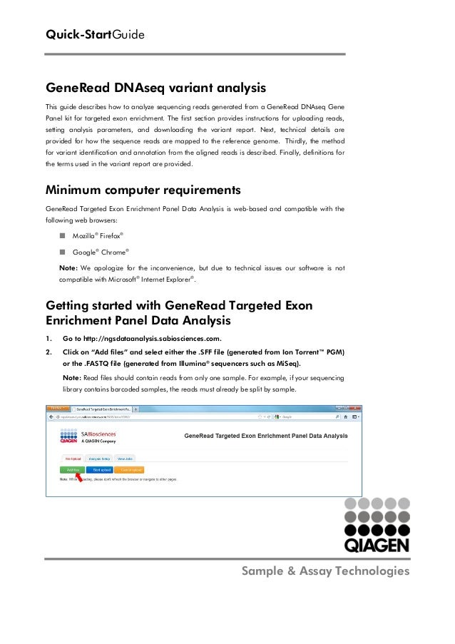 Quick-StartGuide  GeneRead DNAseq variant analysis This guide describes how to analyze sequencing reads generated from a G...
