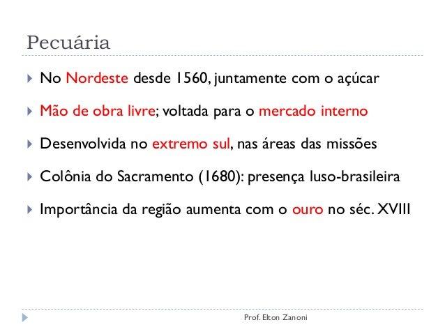 Pecuária  No Nordeste desde 1560, juntamente com o açúcar  Mão de obra livre; voltada para o mercado interno  Desenvolv...